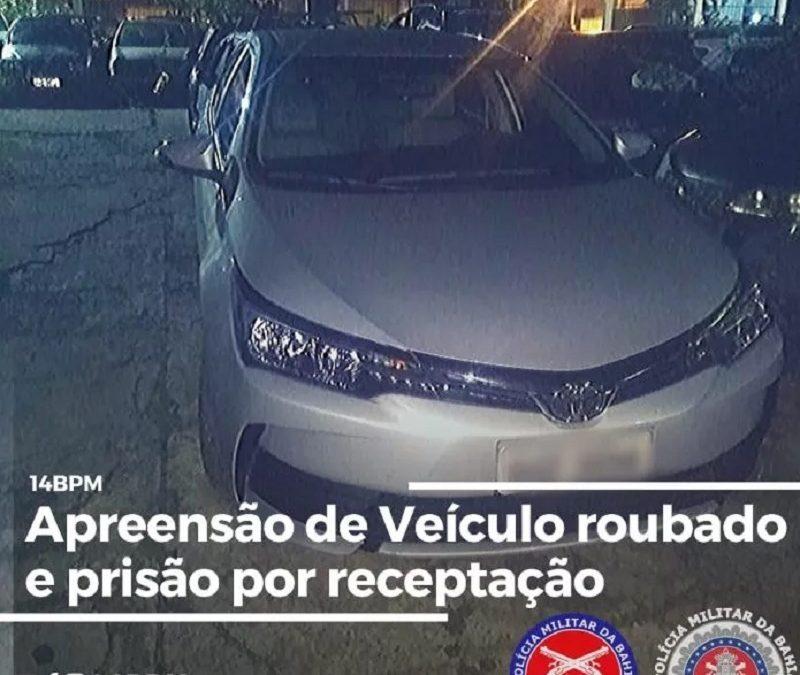 Veículo com restrição de roubo é apreendido pela PM em S. A. de Jesus