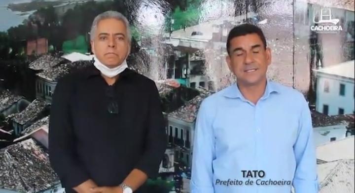 CACHOEIRA: Prefeito Tato anuncia corte de 30% do seu salário para ação contra o Coronavírus