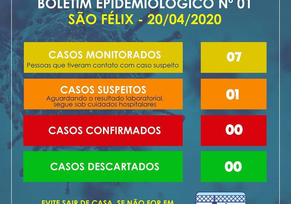SÃO FÉLIX: Prefeitura Municipal, através da Secretaria de Saúde, informa que 01 paciente de São Félix, classificado como caso suspeito para a covid-19