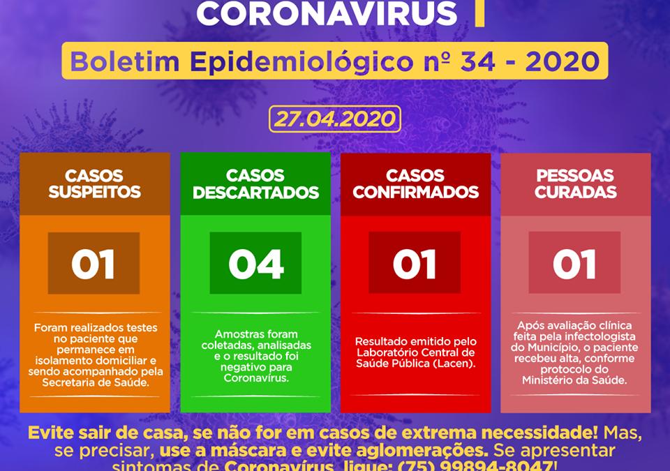 Secretaria de Saúde de Cachoeira divulga o Boletim Epidemiológico desta segunda-feira (27), e informa que foi detectado um CASO SUSPEITO de Coronavírus