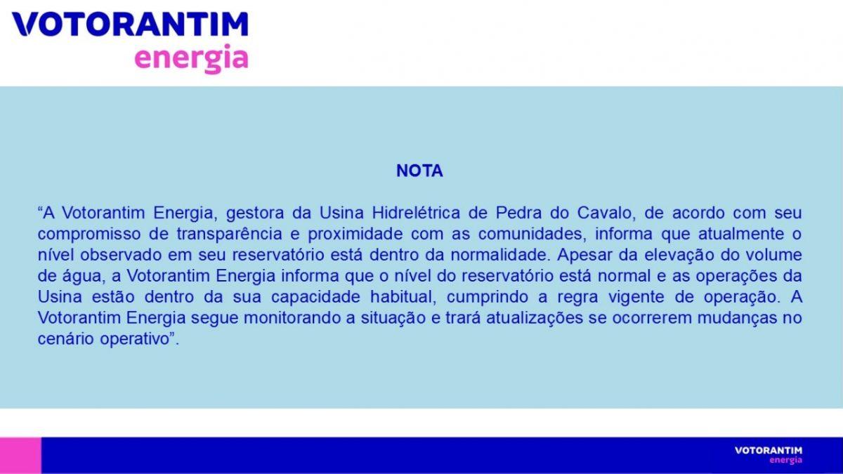 Cachoeira: Nota da Votoratim desmente Fake sobre anormalidade em Barragem Pedra do Cavalo