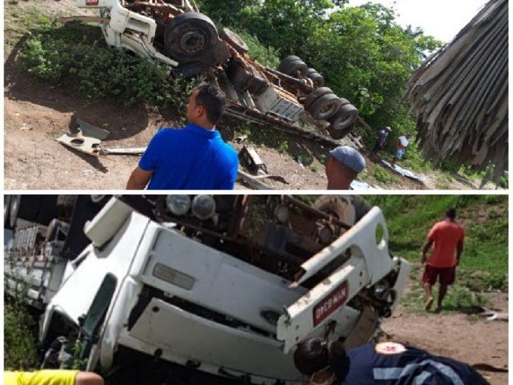 Homem e mulher morrem após caminhão capotar na BR-101, no trecho que pertence a Muritiba
