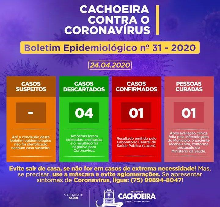 A Secretaria de Saúde de Cachoeira divulga o Boletim Epidemiológico desta sexta-feira (24).