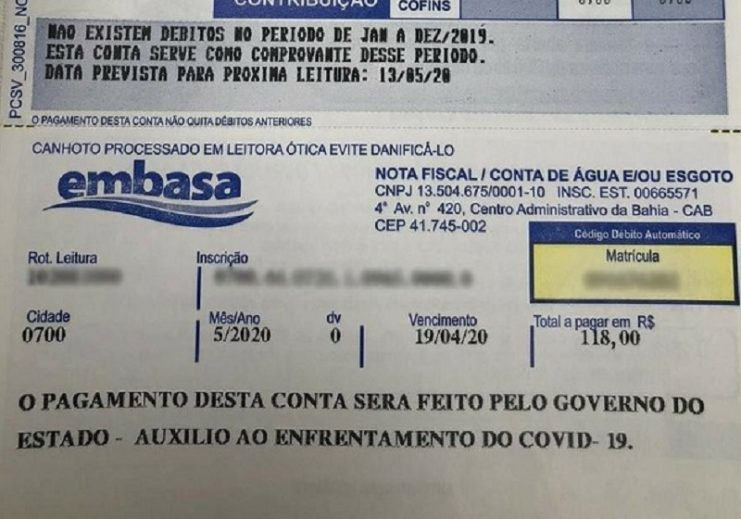 Governo começa a pagar contas de água de baianos; 800 mil famílias serão beneficiadas