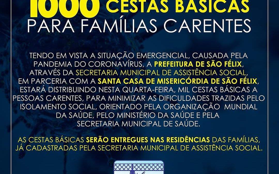 Prefeitura,Sec. de Assistência Social e em parceria com a Santa Casa de Misericórdia de São Félix, vai distribuir hoje 1.000 cestas básicas