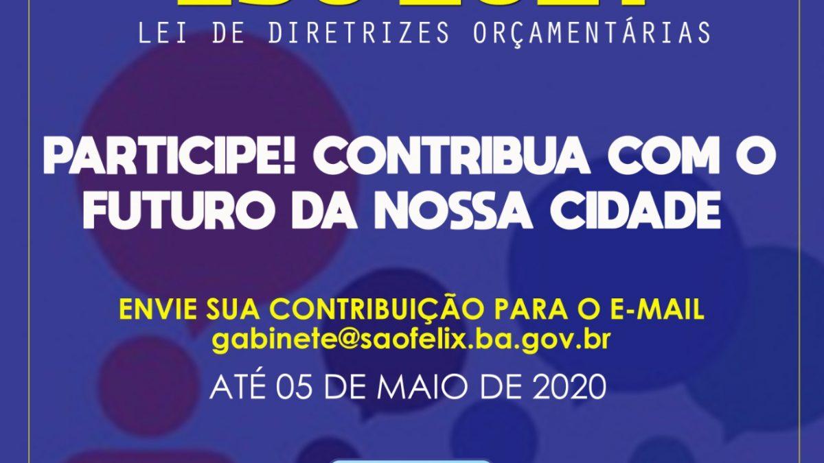Prefeitura de São Félix recebe propostas, por e-mail, para elaboração da LDO