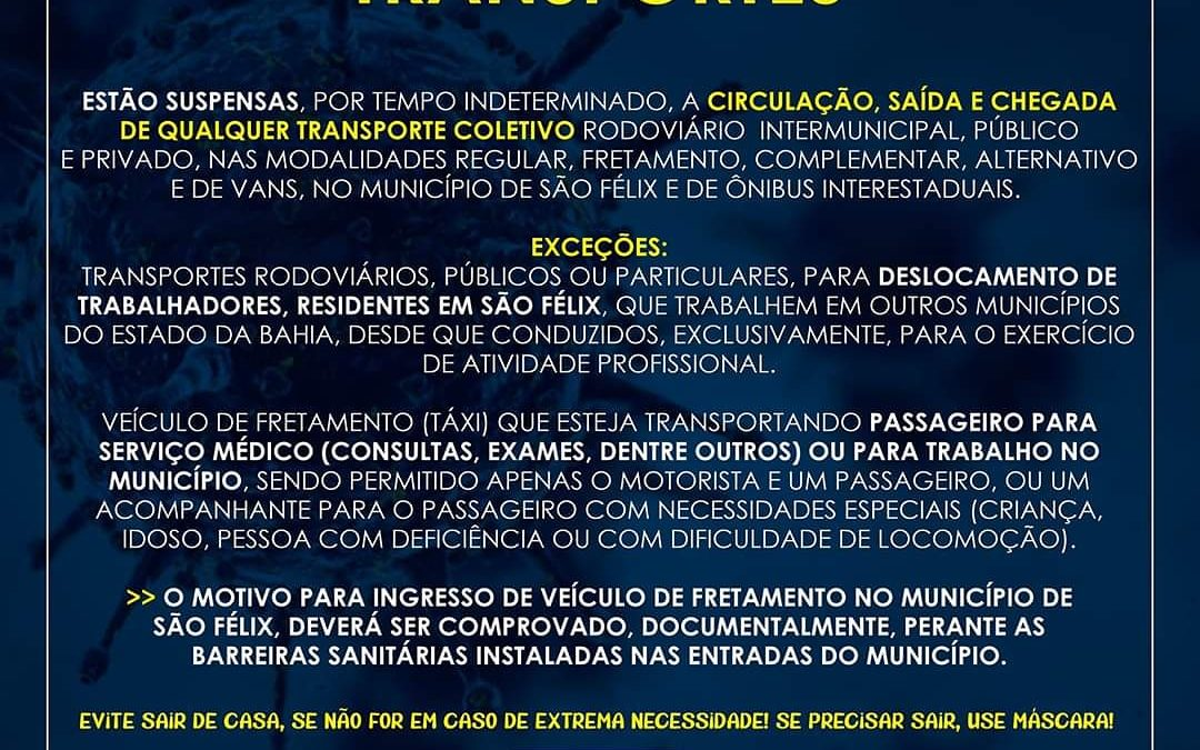 São Félix: Prefeitura suspende circulação de transporte coletivo por tempo indeterminado