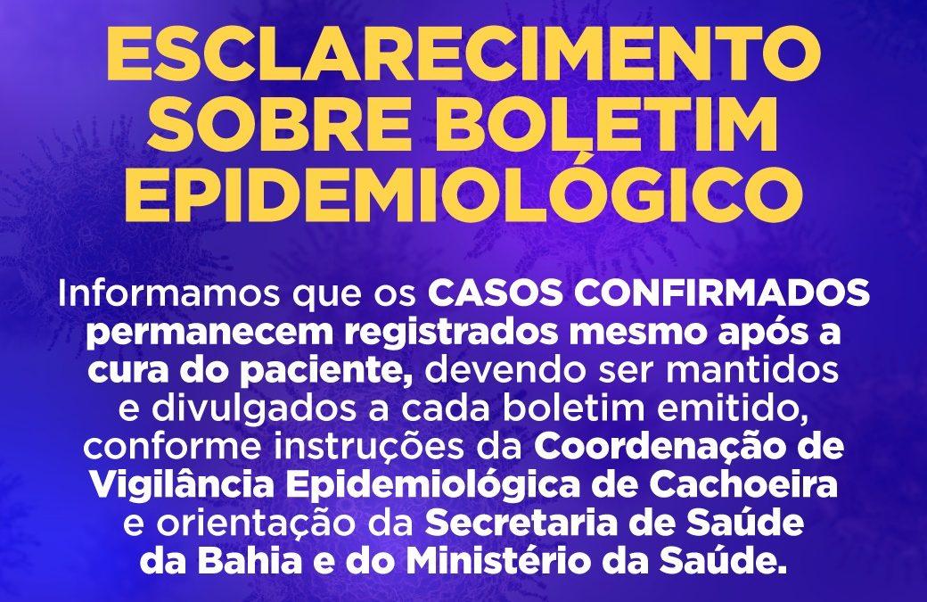 CACHOEIRA : SECRETARIA DE SAÚDE EMITE NOTA DE ESCLARECIMENTO SOBRE BOLETIM EPIDEMIOLÓGICO