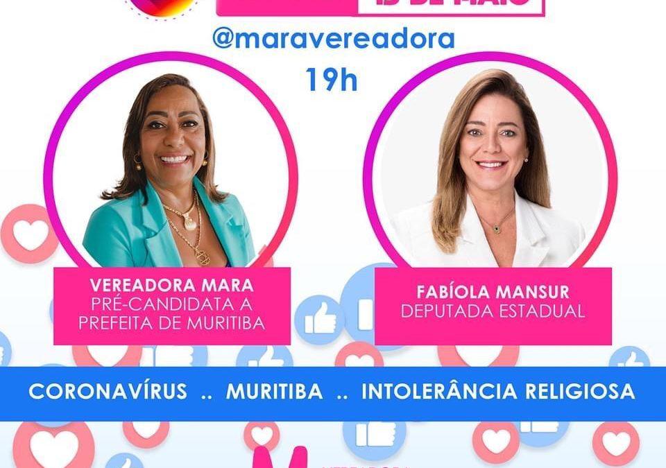 FIQUEM LIGADOS!   A vereadora MARA e a deputada Fabíola , vão conversar numa live realizada através do perfil no Instagram @maravereadora, Nesta quarta-feira 13/05,às 19h
