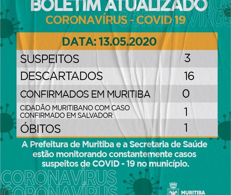 Muritiba: Prefeitura emite Boletim Epidemiológico atualizado com o óbito de paciente por Covid-19