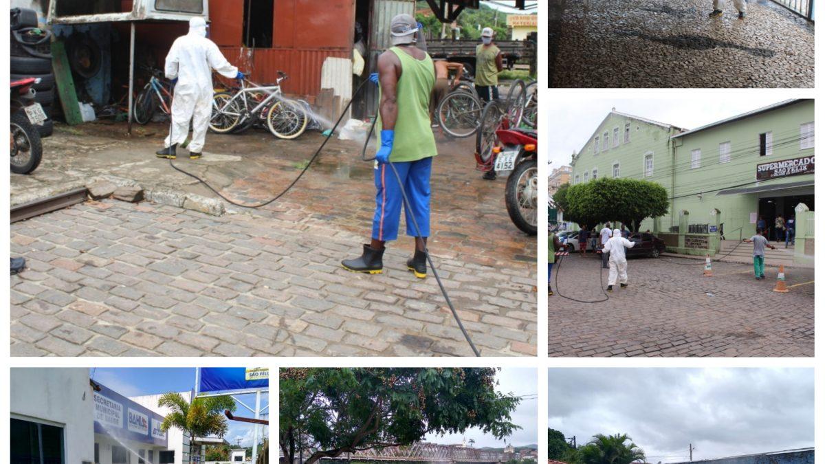 Prefeitura de São Félix realiza higienização de ruas da cidade com hipoclorito