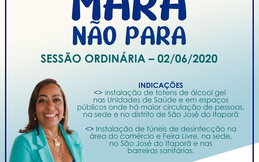 MURITIBA: Vereadora Mara faz indicação para colocar túneis de desinfecção e os totens de álcool gel na sede e zona rural.