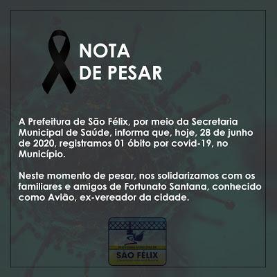 São Félix: Prefeitura emite Nota de Pesar pelo falecimento de 'Avião', vítima da Covid-19