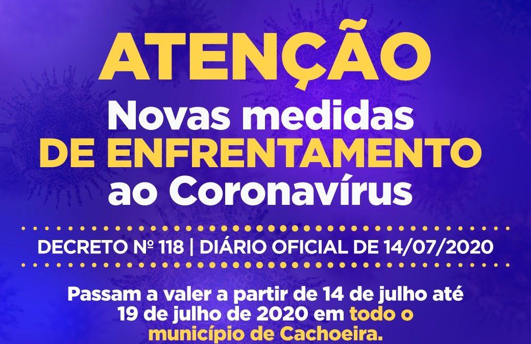 CACHOEIRA: *ATENÇÃO! NOVAS MEDIDAS DE PREVENÇÃO E ENFRENTAMENTO AO CORONAVÍRUS!*