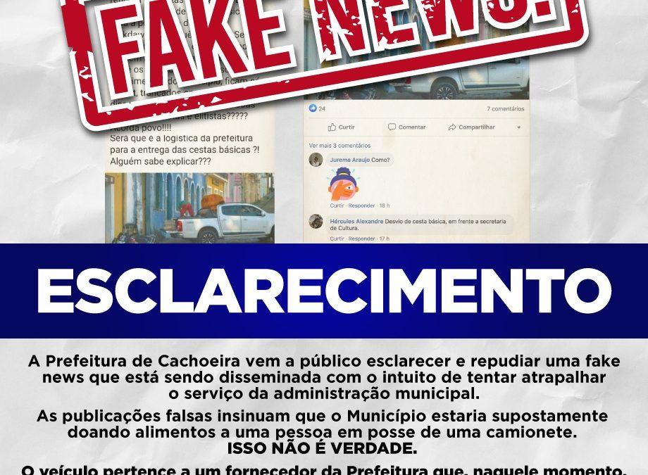 CACHOEIRA: PREFEITURA EMITE NOTA DE ESCLARECIMENTO SOBRE FAKE NEWS