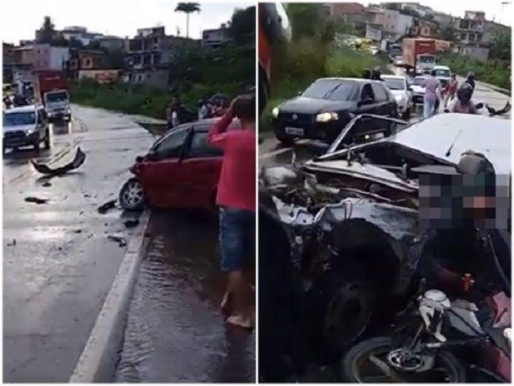 Motorista fica preso às ferragens após colidir com carro e moto na BR-101, trecho de Santo Antônio de Jesus