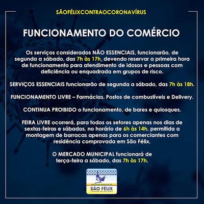 São Félix: Prefeitura decreta medidas para o funcionamento do comércio pós lockdown