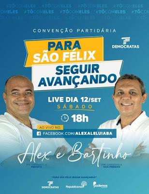 São Félix: DEM realiza convenção partidária no próximo sábado (12)
