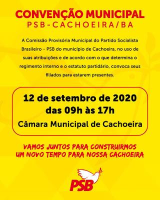Cachoeira: PSB realiza convenção partidária neste sábado (12)