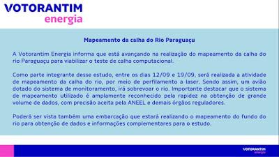 Votorantim Energia realiza mapeamento da calha do Rio Paraguaçu