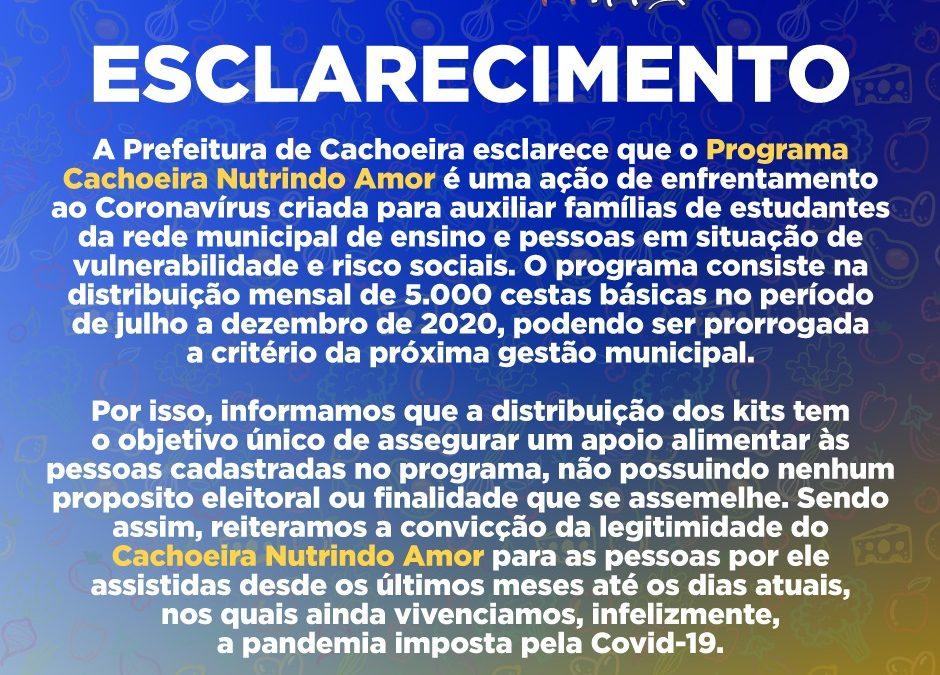 Cachoeira: Prefeitura emite nota sobre o Programa Nutrindo Amor