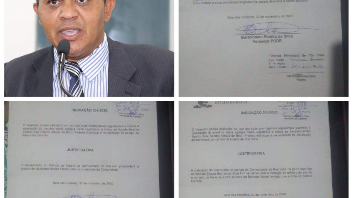SÃO FÉLIX: Vereador Bartinho apresenta mais  três indicações ao executivo Municipal.