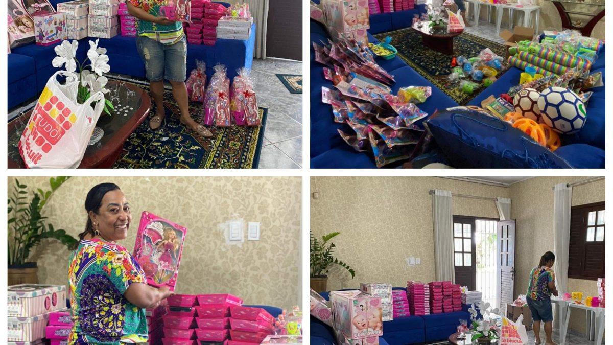 MURITIBA: Vereadora Mara Nos preparativos para fazer á alegria das Crianças, Nesta tarde, de Domingo, as 15hs!!