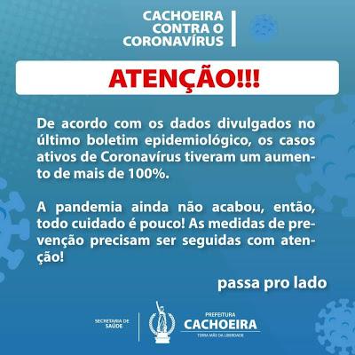 Cachoeira: Número de casos de coronavírus tem aumento de 100%