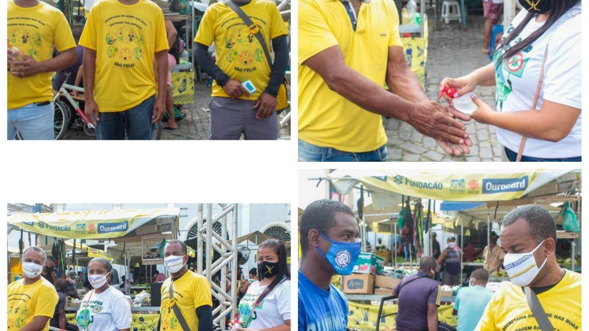 SÃO FÉLIX: Prefeitura disponibiliza funcionários para da atenção as medidas de proteção contra a Covid-19 na feira livre